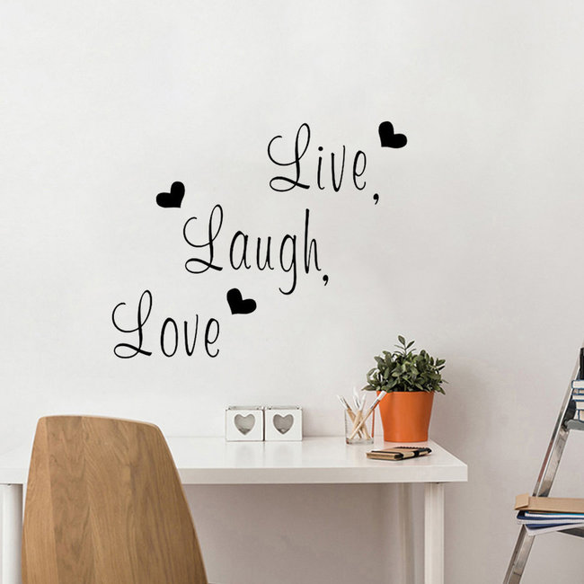NEW1702 Live Laugh Love Muursticker