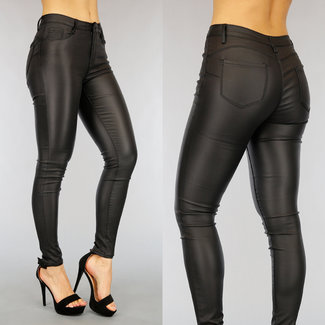 Zwarte Lederlook Push-Up Broek