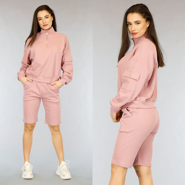 Oudroze Biker Short Set met Sweater