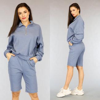 Blauwe Biker Short Set met Sweater