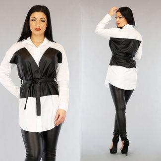 NEW0303 Lange Witte Blouse met Zwarte Lederlook
