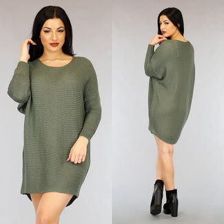 NEW0303 Kaki Loose-Fit Mullet Sweater Dress