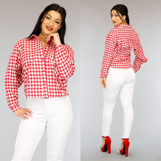 NEW0303 Rood Geruite Loose-Fit Blouse met Ruches