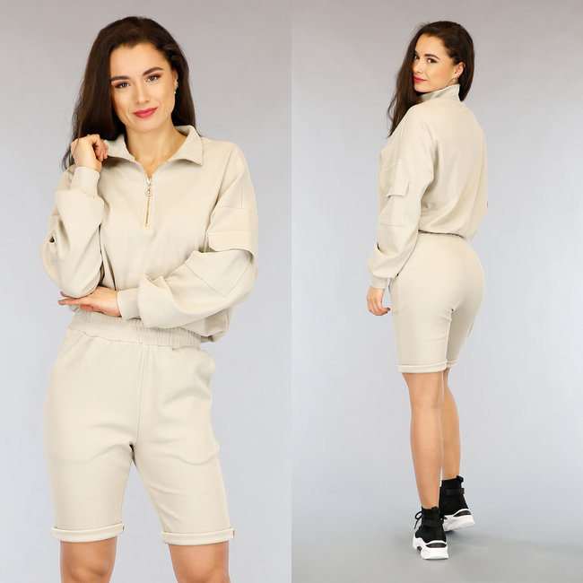 NEW0303 Beige Biker Short Set met Sweater