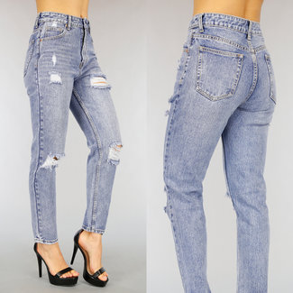 NEW0303 Old Look High Waist Mom Jeans met Scheuren