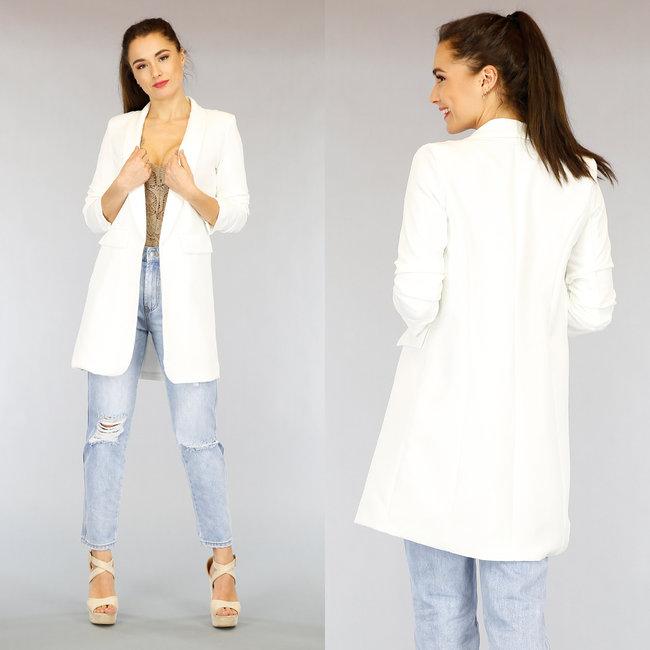 Lange Witte Blazer met Geplooide Mouwen