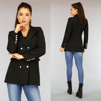 NEW0303 Zwarte Button Blazer