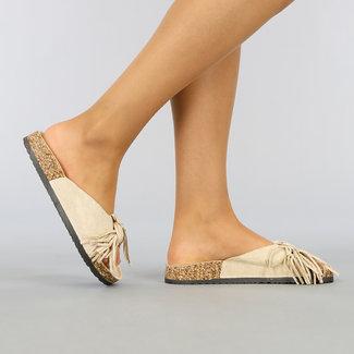 Beige Suède-Look Slippers met Franje