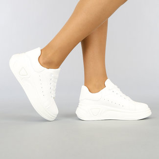 NEW1003 Witte Basic Sneakers met Grove Plateauzool