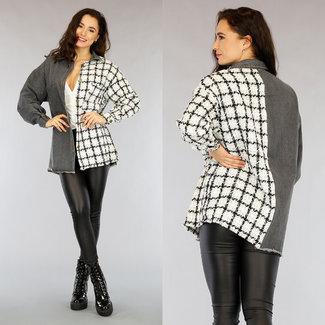 Oversized Grijze Spijkerblouse met Tweed