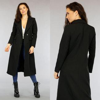 NEW2403 Lange Zwarte Blazer Jas