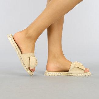 Beige Slippers met Strik