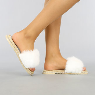 NEW2403 Witte Fluffy Slippers met Touwprofiel