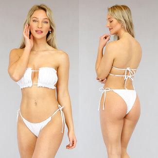 Witte Geplooide Bandeau Bikini met Ruches