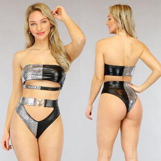 NEW3103 Metallic Kroko High Waist Underboob Bikini