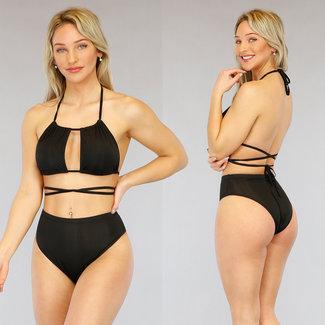 NEW3103 Zwarte High Waist Wrap Bikini