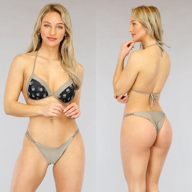 Taupe Pineapple Push-Up Halter Bikini
