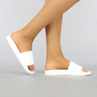 Witte Rubberen Slippers met Reliëf
