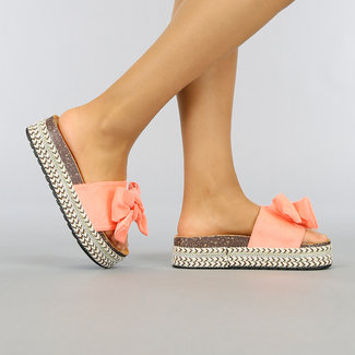 NEW0704 Boho Plateau Slippers met Coral Suède-Look Strik