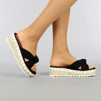 Zwarte Sleehak Slippers met Knoop