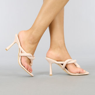 NEW0704 Nude Lederlook Muiltjes met Stiletto Hak