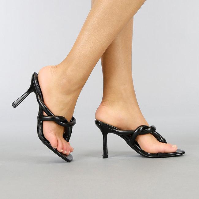 NEW0704 Zwarte Lederlook Muiltjes met Stiletto Hak