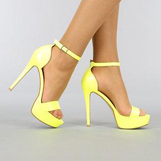 Gele Stiletto Sandaletten met Plateau en Peeptoe