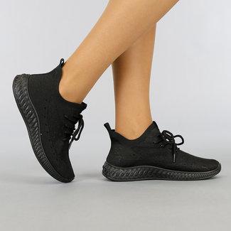 NEW0704 Zwarte Elastische Sneakers
