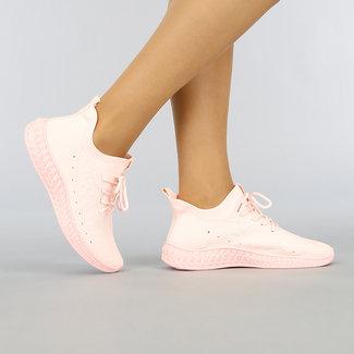 NEW0704 Lichtroze Elastische Sneakers