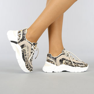 NEW0704 Animal Print Sneakers met Reflecterend Detail
