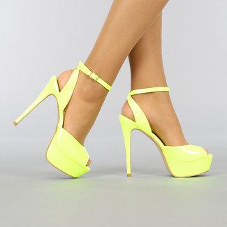 Neon Gele Lak Sandaletten met Plateau