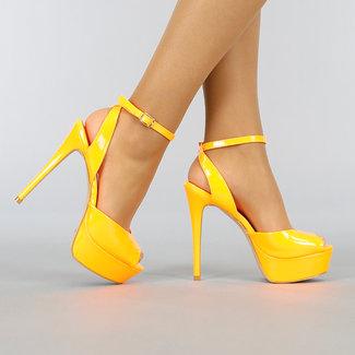 Neon Oranje Lak Sandaletten met Plateau