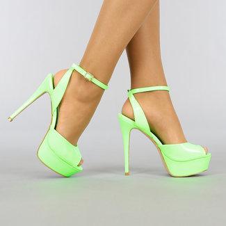Neon Groene Lak Sandaletten met Plateau