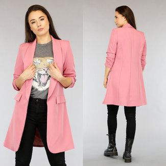 NEW2104 Lange Roze Blazer met Geplooide Mouwen