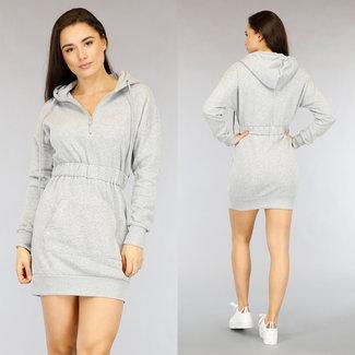 NEW2104 Grijze Hoodie Dress met 1/2 Rits