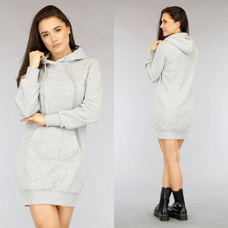 NEW2104 Grijze Loose-Fit Hoodie Dress