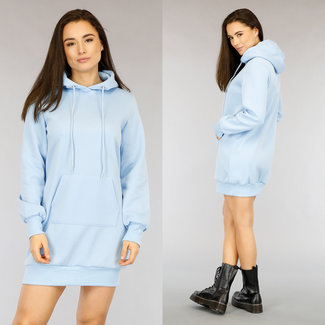 NEW2104 Lichtblauwe Loose-Fit Hoodie Dress