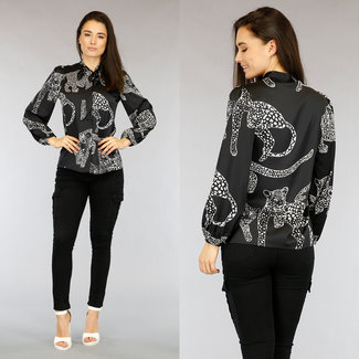 NEW2104 Zwarte Loose-Fit Satin Luipaard Blouse