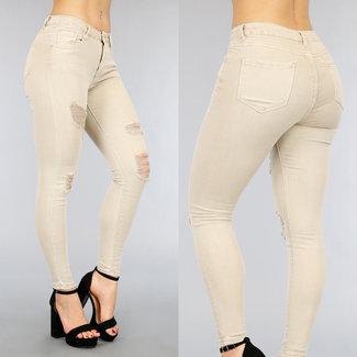 NEW2104 Beige High Waist Jeans met Scheuren