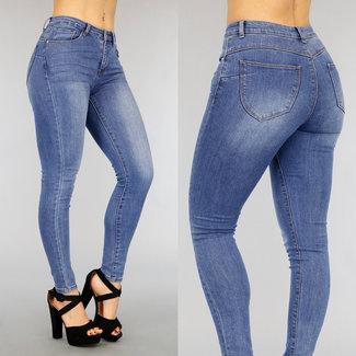 Donkerblauwe High Waist Stretch Jeans