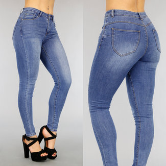 NEW2104 Donkerblauwe High Waist Stretch Jeans