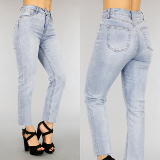 NEW2104 Basic Lichtblauwe Straight Leg Jeans