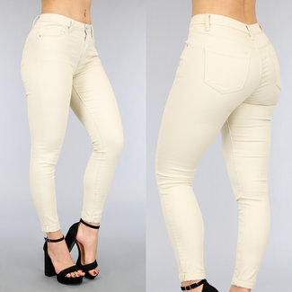 NEW2104 Basic Beige Jeans met Stretch
