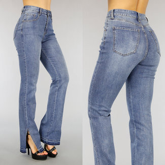 High Waist Flared Jeans met Splitjes