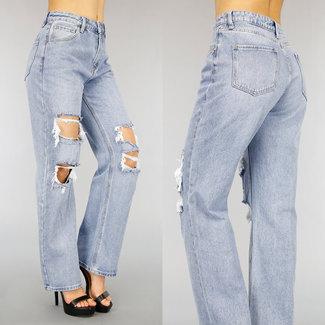 High Waist Flared Jeans met Scheuren