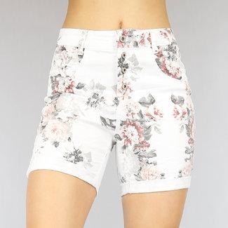 Wit Stretch Jeans Short met Bloemenprint
