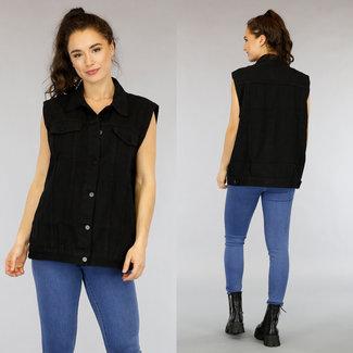 NEW0505 Zwarte Oversized Jeans Gilet