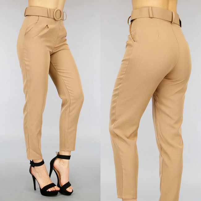 NEW0505 Camel Pantalon met Riem