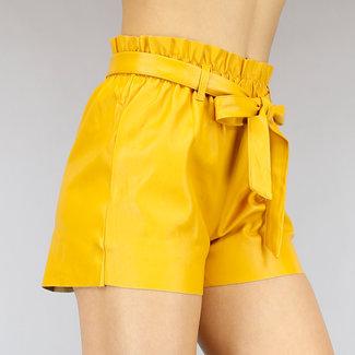 Geel Lederlook Paperbag Short