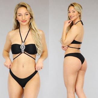 Zwarte Bandeau Bikini met Losse Strass Halter